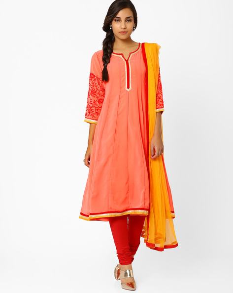 Kalidar Churidar Kurta With Dupatta By AJIO ( Peach )