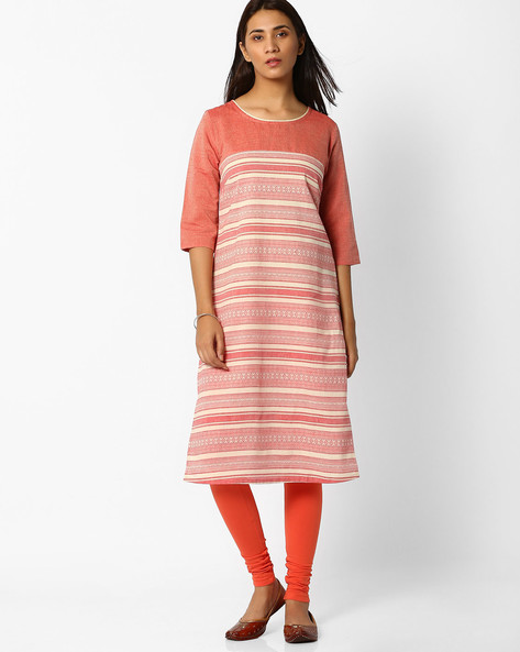 Printed Straight Kurta By AURELIA ( Red )