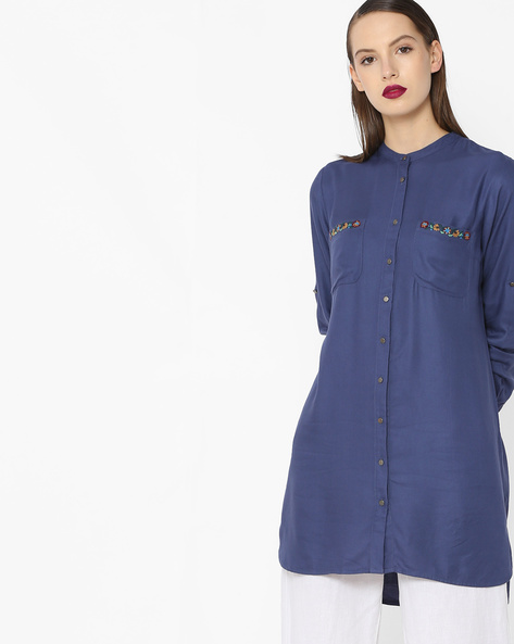 High-Low Tunic With Embroidery By Project Eve WW Casual ( Navy )