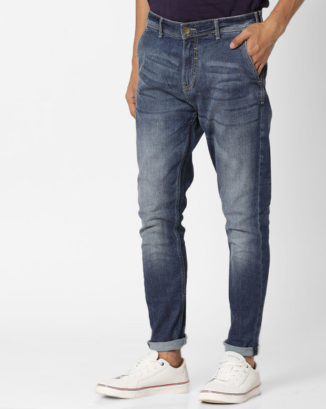 Lightly-Washed Slim Fit Jeans By Locomotive ( Indigo )