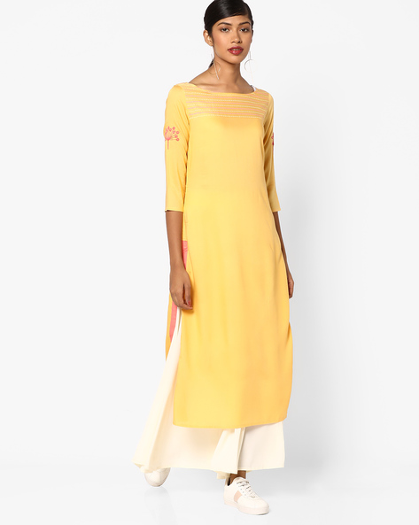 Straight Kurta With Printed Yoke By AJIO ( Yellow )