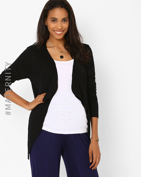 Maternity Shrug With Waterfall Lapel By AJIO ( Black )