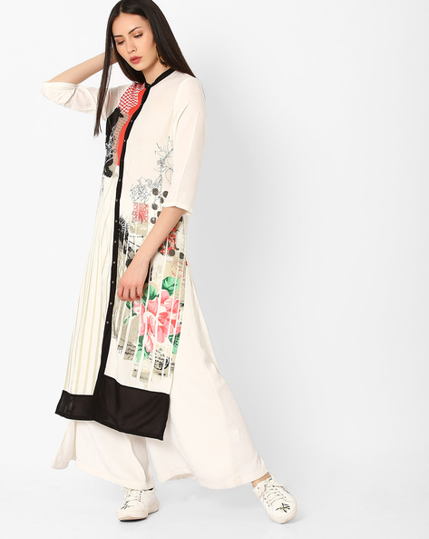Floral Print Straight Kurta With Button Placket By W ( White )