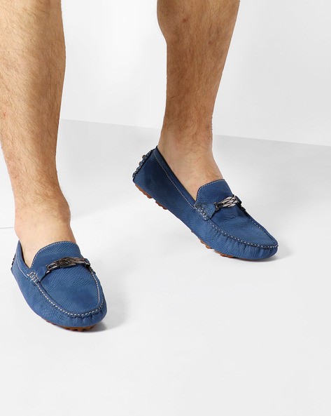 Textured Loafers With Metal Accent By ALBERTO TORRESI ( Blue )