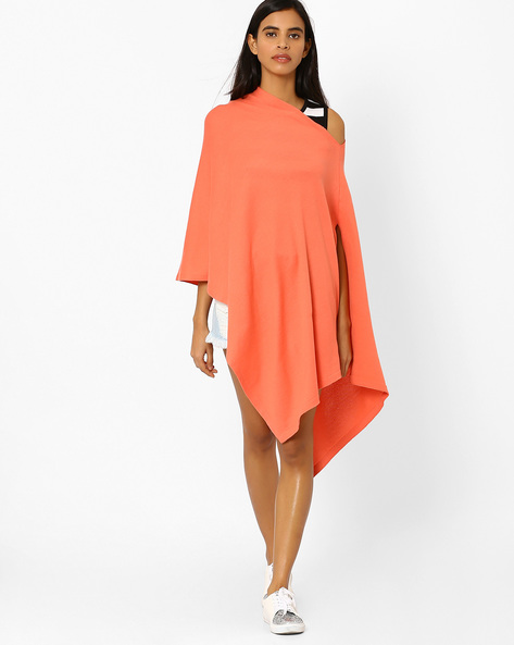 Knitted Off-Shoulder Poncho Top By Pluchi ( Pink )