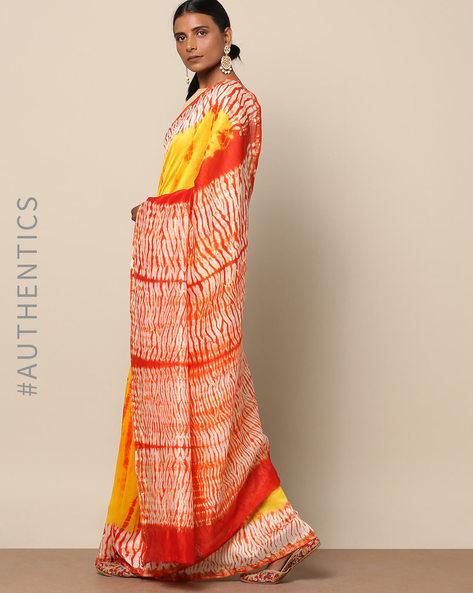 Shibori Tie Dye Chanderi Saree With Zari By Indie Picks ( Multi ) - 460146849001