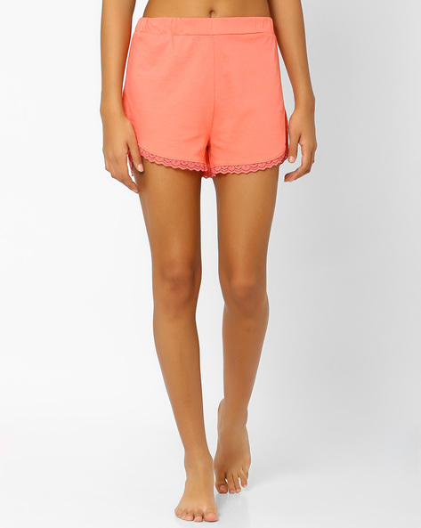 Shorts With Lace Trim By AJIO ( Coral )