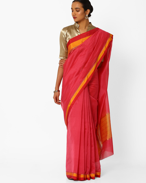 Striped Saree With Contrast Border By Amori ( Red )