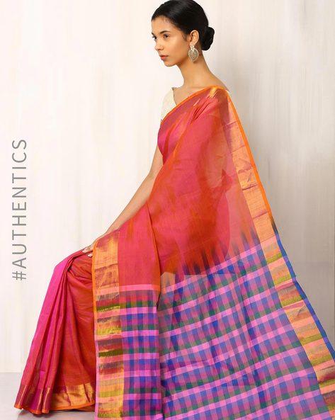 Handwoven Mangalgiri Cotton Silk Saree By Indie Picks ( Pink )