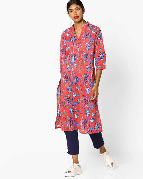 Floral Print Straight Kurta By Melange By Lifestyle ( Coral )