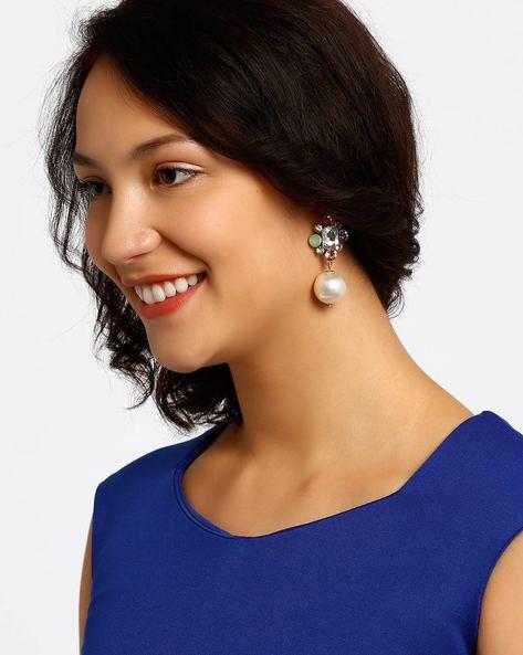 Pearl Drop-Earrings By Style Fiesta ( Multi )