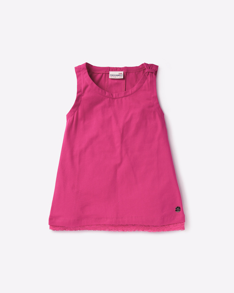 Sleeveless T-shirt With Lace Panels By COCCODRILLO ( Fuchsia )