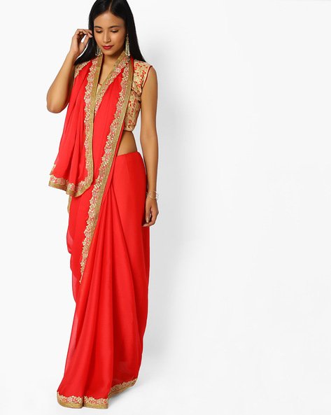 Chiffon Saree With Embroidery By Majestic Silk ( Red )