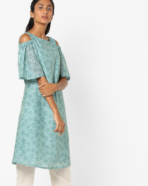 Printed Cold-Shoulder Kurta By AJIO ( Blue )
