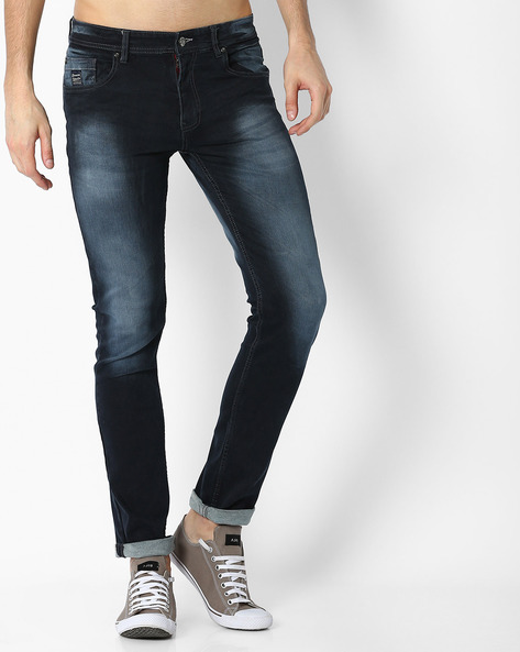 Lightly Washed Tapered Fit Jeans By DNM X ( Darkblue )