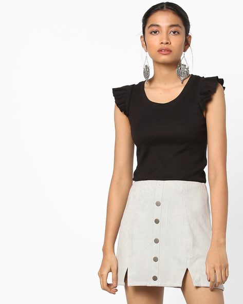 Knitted Top With Ruffled Cap Sleeves By AJIO ( Black )