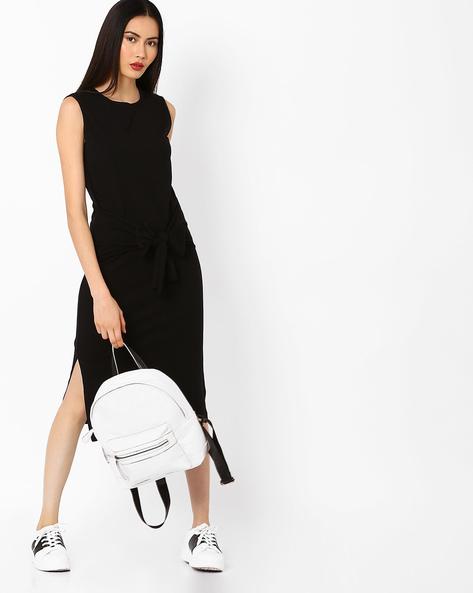 Sleeveless Jersey Dress With Tie-Up By AJIO ( Black )