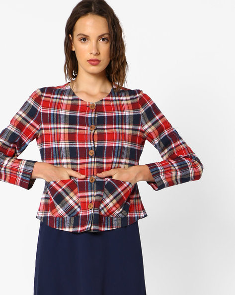 Cotton Checked Coat By Oxolloxo ( Multi )