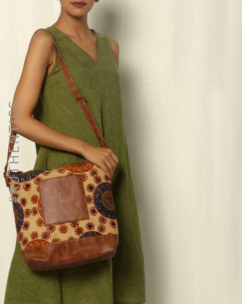 Handblock Print Kalamkari Kilim Vegan Leather Tote Sling Bag By A BIG INDIAN STORY ( Tan )
