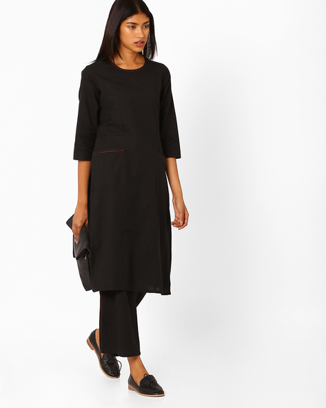 Straight Kurta With Insert Pockets By AJIO ( Black )