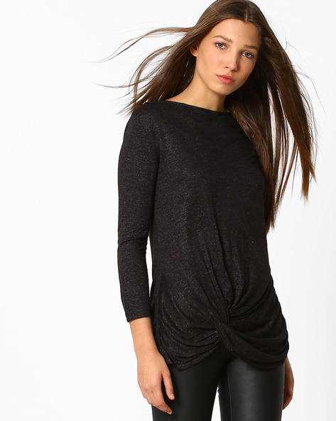 Textured Top With Curved Hem By Femella ( Black )