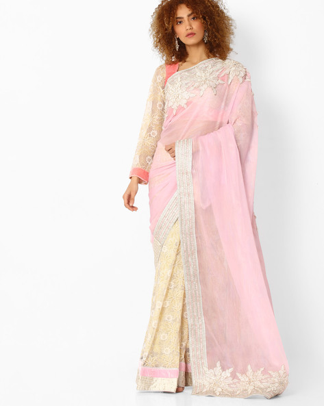 Net Saree With Floral Design By Mahotsav ( Pink )