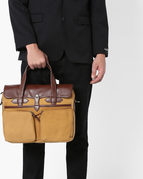 Laptop Messenger Bag By GAUGE MACHINE ( Camel )