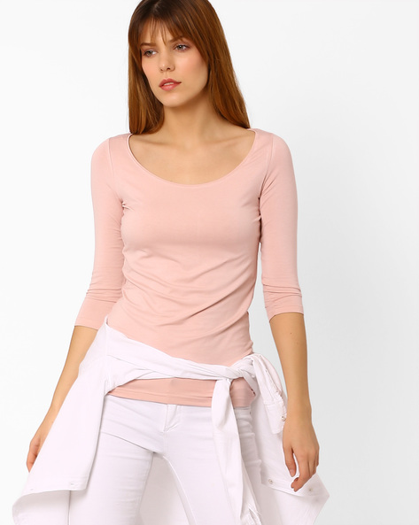 Top With Three-Quarter Sleeves By CODE By Lifestyle ( Pink )