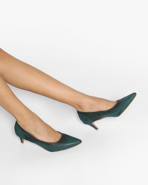 Textured Pumps With Brogue Upper By AJIO ( Teal )