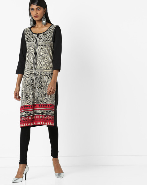 Front-Printed Kurta With Side Slits By Melange By Lifestyle ( Black )