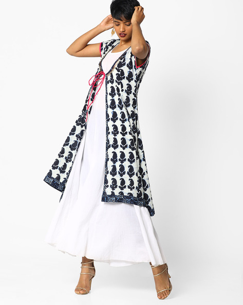 Printed Ethnic Jacket With Tie-Up By AJIO ( Indigo )