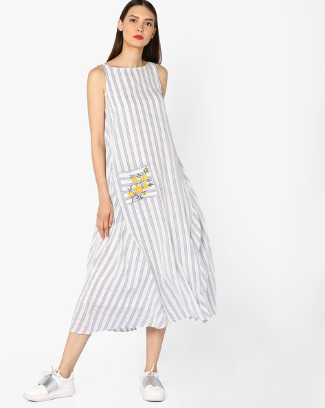 Striped Sleeveless Dress By And ( Rust )
