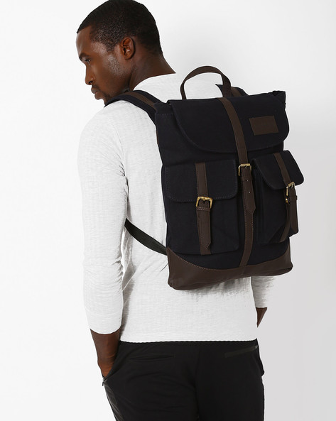 Backpack With Flap Pockets By FAMOZI ( Navy )