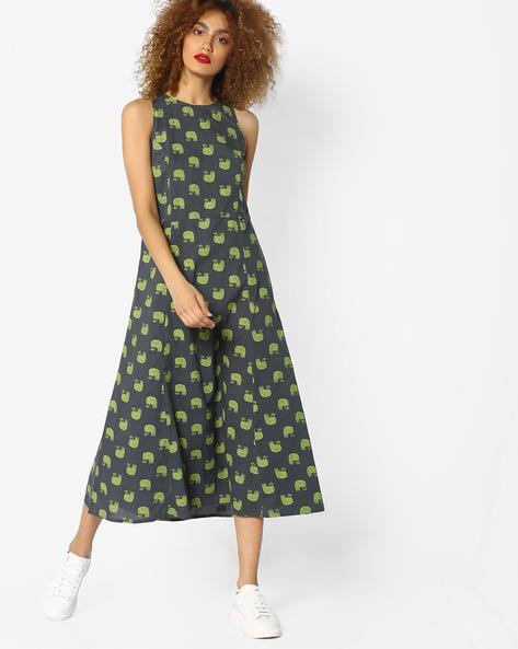 Printed Sleeveless A-line Dress By AJIO ( Grey )