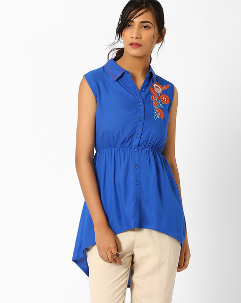 Shirt Tunic With Applique Detail By AJIO ( Blue )
