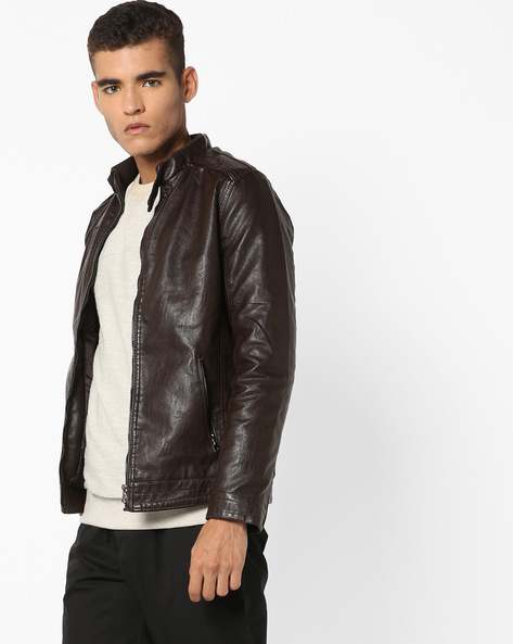 Biker Jacket With Zipper Pocket By The Indian Garage Co ( Brown )
