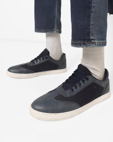 Low-Top N9-Treated Panelled Sneakers By AJIO ( Navy )