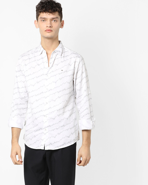Geometric Print Slim Fit Shirt By SPYKAR ( White )