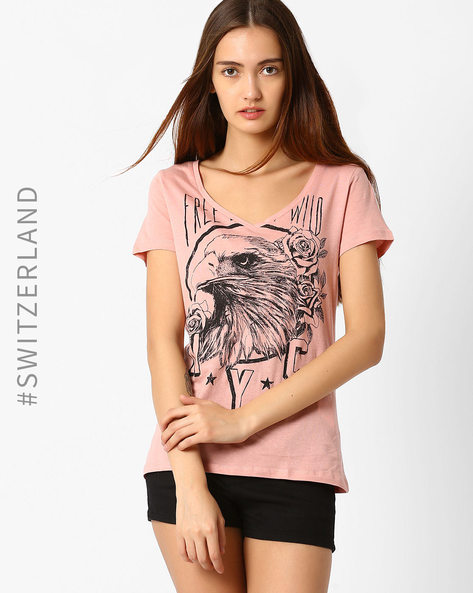 Graphic Print T-shirt By TALLY WEiJL ( Pink )
