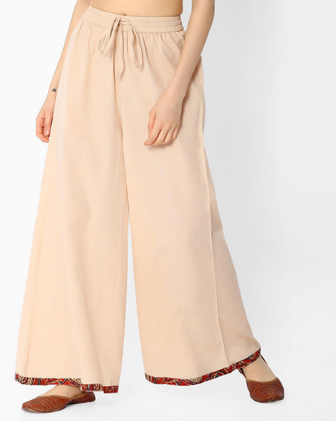 Palazzo Pants With Elasticated Waist By SIYAHI ( Beige )
