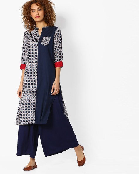 Printed Straight Kurta With Patch Pocket By AVAASA MIX N' MATCH ( Navy )