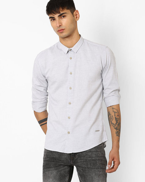 Slim Fit Smart Casual Shirt By VOI JEANS ( Offwhite )