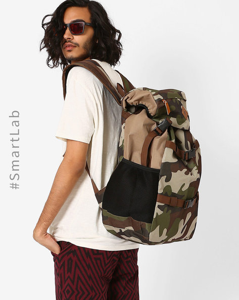 Camouflage Print Travel Backpack By AJIO ( Olive )