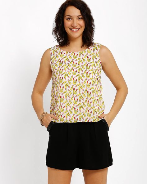 Printed Sleeveless Top By Candies By Pantaloons ( Peach )