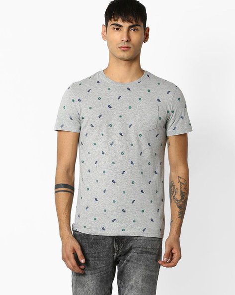 Printed T-shirt With Patch Pocket By Celio ( Grey )
