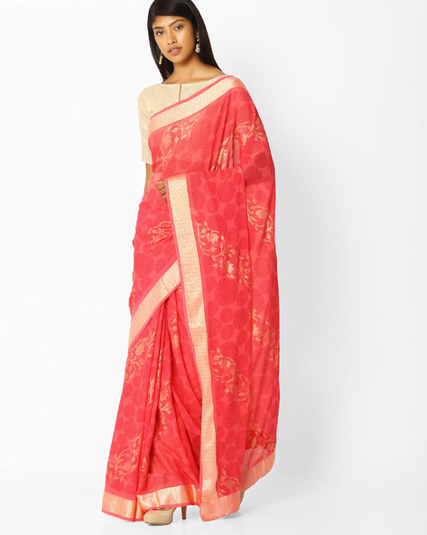 Floral Print Saree With Woven Border By Arissa ( Pink )