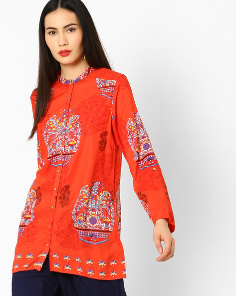 Printed Tunic With Mandarin Collar By W ( Red )