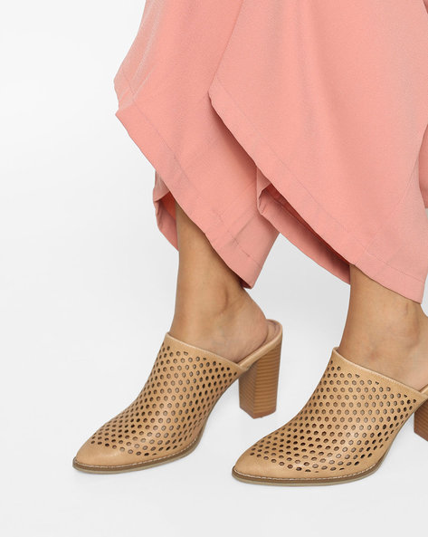 Chunky Heel Sandals With Laser Cut-Outs By AJIO ( Beige )
