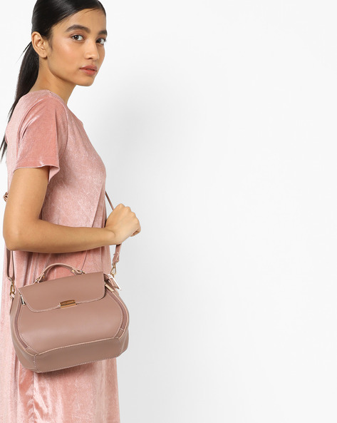 Satchel Bag With Detachable Sling By Lino Perros ( Lavendr )