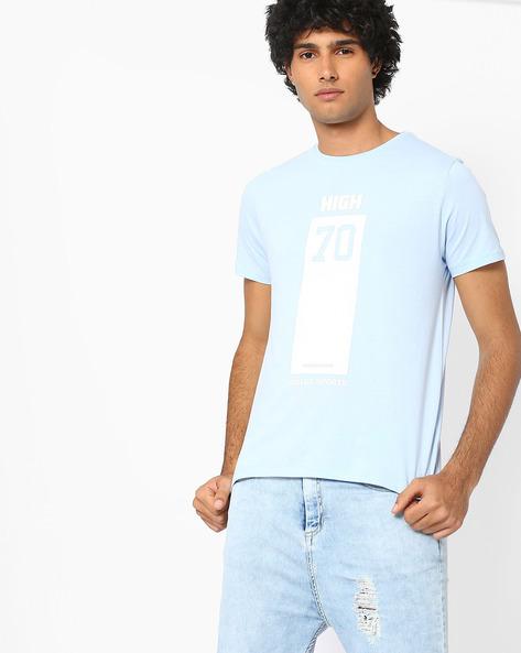 Typographic Print Slim Fit T-shirt By AJIO ( Blue )